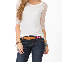 Lace Sleeve Baseball Tee