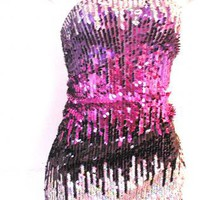 Haute Purple Silver Three Tone Fading Sequin Strapless Dress