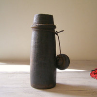 Himalayan antique Ghee Bottle Hand curved wood by MeshuMaSH