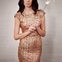 Bronze Sequin V Back Party Dress from China Doll Boutique