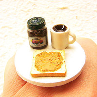 Cute Food Ring Bread Coffee Jam Miniature Food Ring Jewelry