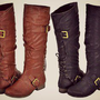 Tall Knee High Fashion Riding Boot Buckles Corset Lace Up Flat Black & Rust