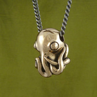 Octopus Necklace Bronze Octopus Pendant on 24&quot; Gunmetal Chain - Octopus Jewelry