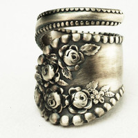 Spoon Ring Vintage Victorian Rose// Handmade// Sterling Silver Ring