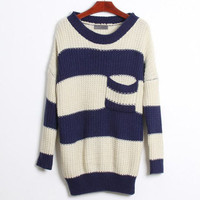 Korean Stylish Chunky Knit Bat Wing Thick Pocket Loose Stripe Sweater Tops Coat