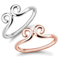 Curled 925 Sterling Silver Couple Ring - GULLEITRUSTMART.COM