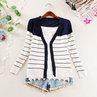 new fashion korean style cardigan sweater,long sleeve stripe Loose slim sweater