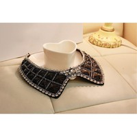 Black Rhinestone Sequins Collar,Cheap in Wendybox.com