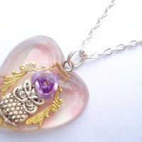 Owl Rose Purple Pink Heart Filigree Resin Necklace