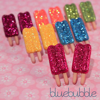 FUNKY SPARKLY GLITTER ICE CREAM LOLLY EARRINGS CUTE KITSCH RETRO KAWAII SWEET