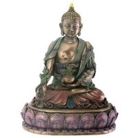 Amazon.com: Medicine Buddha - Healer Statue Tibetan Buddhism Antique Bronze Finish with Hand-painted Color Accents Standard: Home &amp; Garden