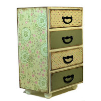 Jewelry box extra large chest of drawers with flower design 313