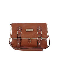 Brown foldover messenger bag