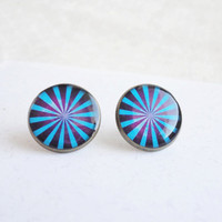 Blue purple stripes studs