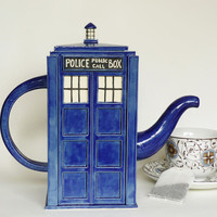 TARDIS Teapot MadeToOrder Handmade Blue Police Box by jadeflower