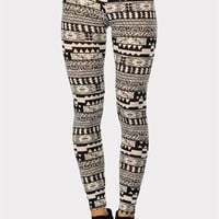 Bari Tribal Print Legging - Beige at Necessary Clothing