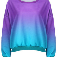 Purple-Green Dip Dye Sweatshirt