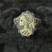 Skeleton Lady Cameo Ring- Grey and Silver - $17.50 : RagTraderVintage.com, Handmade Indie Retro Accessories