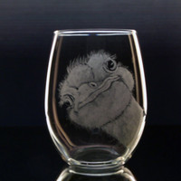 Ostrich stemless wine goblet , wine glass , hand engraved glassware barware bar ware