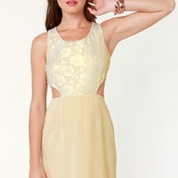 Lace-in' Learned Beige Lace Dress
