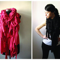 Jersey ruffle scarf RED by Julbyjuliagasin on Etsy