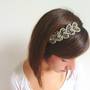 Women Headband - Rhinestone Headband - Head Bands- Beaded headband - Beaded Leaf Beaded Feather Headband - Lace Headband