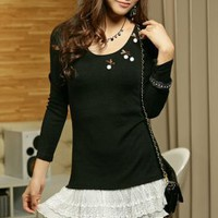 Super Cute All Match Lacing Blouses Black : Wholesaleclothing4u.com
