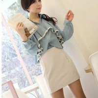 Korean Fashion Ruffle Long Sleeve Ladies Shirts Blue : Wholesaleclothing4u.com