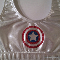 Cap'n Am Super Hero Metallic Sports Bra Cheerleading