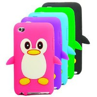 Amazon.com: The Friendly Swede 5 x Penguin Silicone Cases Skins Covers - Hot Pink Purple Green Black Blue - Microfiber Cloth and Retail Packaging: MP3 Players & Accessories
