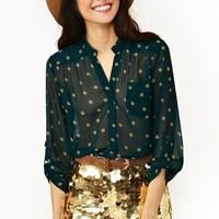 Dotted Pocket Blouse