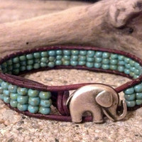 Elephant GOOD LUCK Leather Wrap Br.. on Luulla