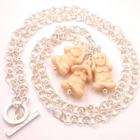 Three Wise Monkeys Necklace with Handmade Silver Link Chain