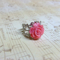 Pink Blush Rose Silver Filigree Ring
