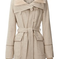 Warehouse Rib collar coat Stone - House of Fraser