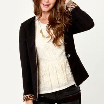Metal Girl Like You Chain-Trimmed Black Blazer