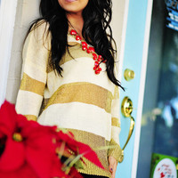 Stay Golden Sweater: Ivory/Gold | Hope's