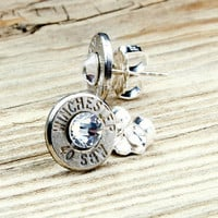 Classy, Dainty Winchester .40 S&amp;W Nickel Bullet Head Stud Earrings with Swarovski Crystals