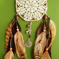 Dream Catcher - Doily - Lotus - Elephant - Brown, white, sand