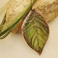 Stained Glass Leaf Pendant SGLP5 by colorshoppestudio on Etsy