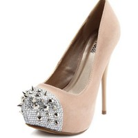 Spiked-Toe Velvet Platform Pump: Charlotte Russe