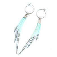 Long Icicle Interchangeable Feather Earrings in Ice Blue Dipped in Silver Glitter