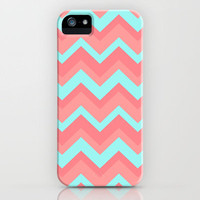 Chevron pattern light pink and blue iPhone Case by Rex Lambo | Society6