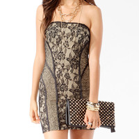 Satin Trimmed Lace Tube Dress | FOREVER21 - 2017307029