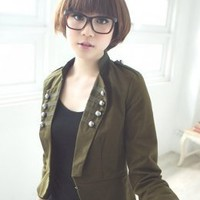 Lapel Single Breasted Army Green Jackets Fashion : Wholesaleclothing4u.com