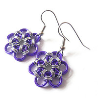 Purple flower earrings, Chainmaille flower jewelry, Japanese 12-in-2 weave