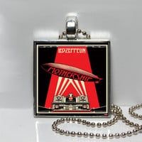 Led Zeppelin Mothership Album Cover Art Square Tile Pendant Necklace