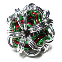 Chainmaille Christmas ornament, Ball ornament, Holiday decoration, Red, green, and silver