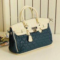 Fancy Ladies Flower Stripes Blue Handbags : Wholesaleclothing4u.com