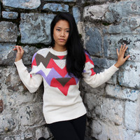 $40.00 Tribal Triangle  Navajo Print Knit Sweater by tasteofvintage